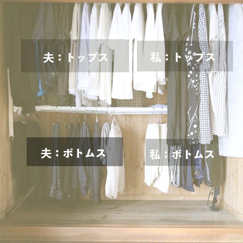 押入れの洋服の収納 トップス・ボトムス