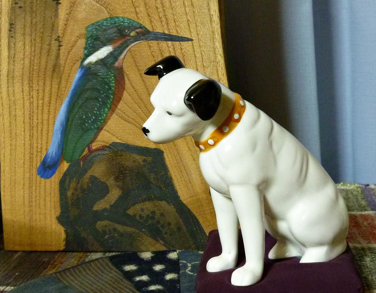 カワセミとビクター犬