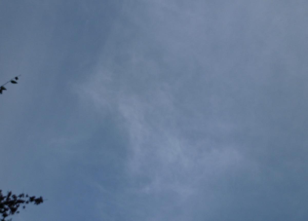 真上の空 薄い雲の向こうに青空
