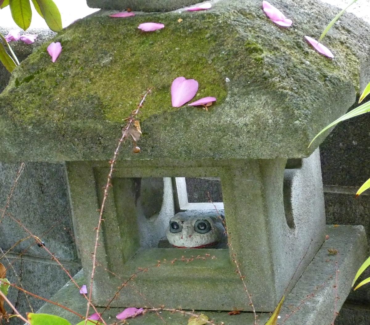 山茶花の花びらをのせた石灯籠と石製のカエル