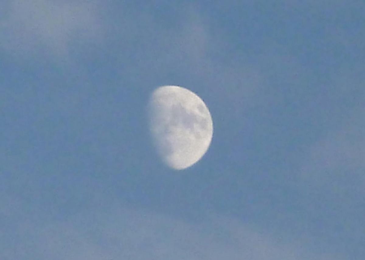 日中の月 アップ
