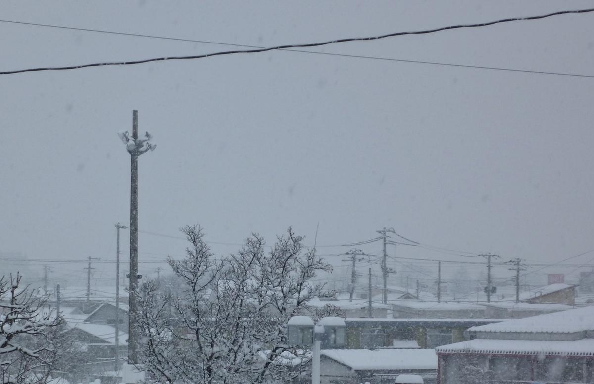 雪が降る住宅街