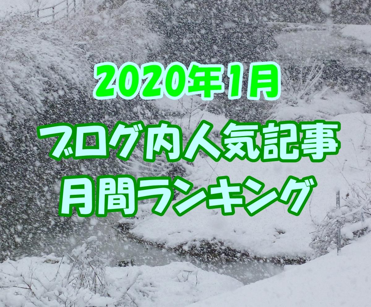 2020年 1月 ブログ内 人気 記事 ランキング
