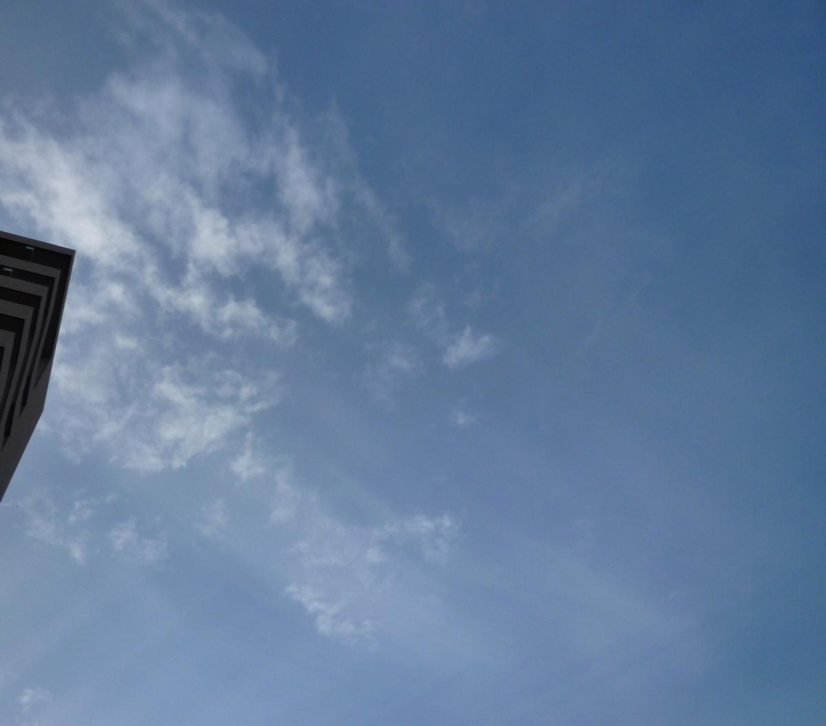 市中心部で撮影した真上の空