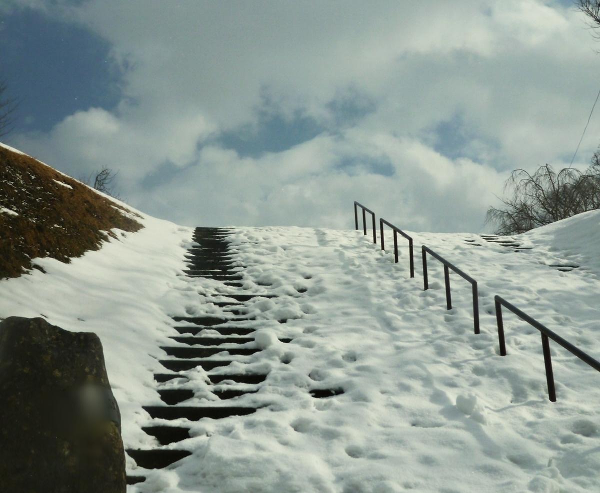 公園の階段と空