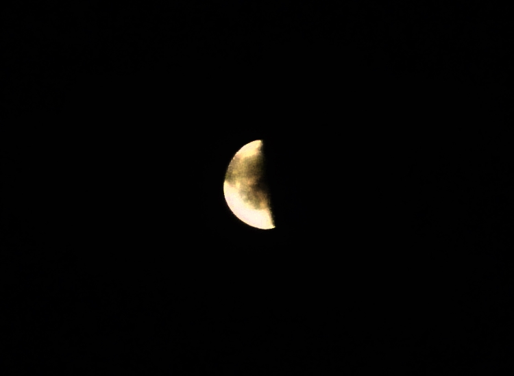 雲に抱かれる月