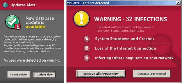 MaCatte(マカフィー)偽のポップアップ画面