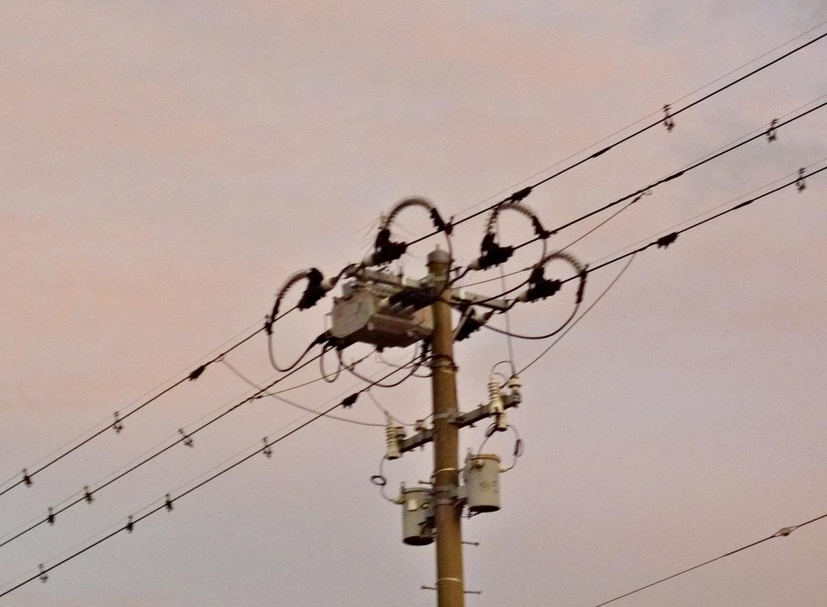 夕焼けに染まる電柱
