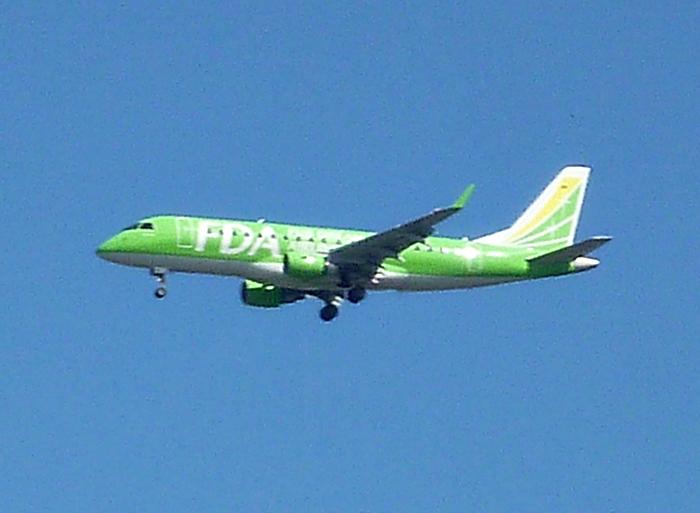 着陸寸前の旅客機 FDA