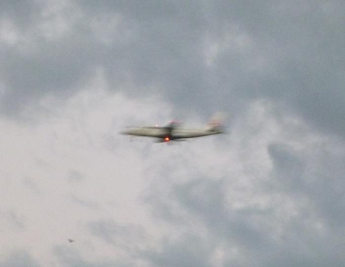 夕方の飛行機