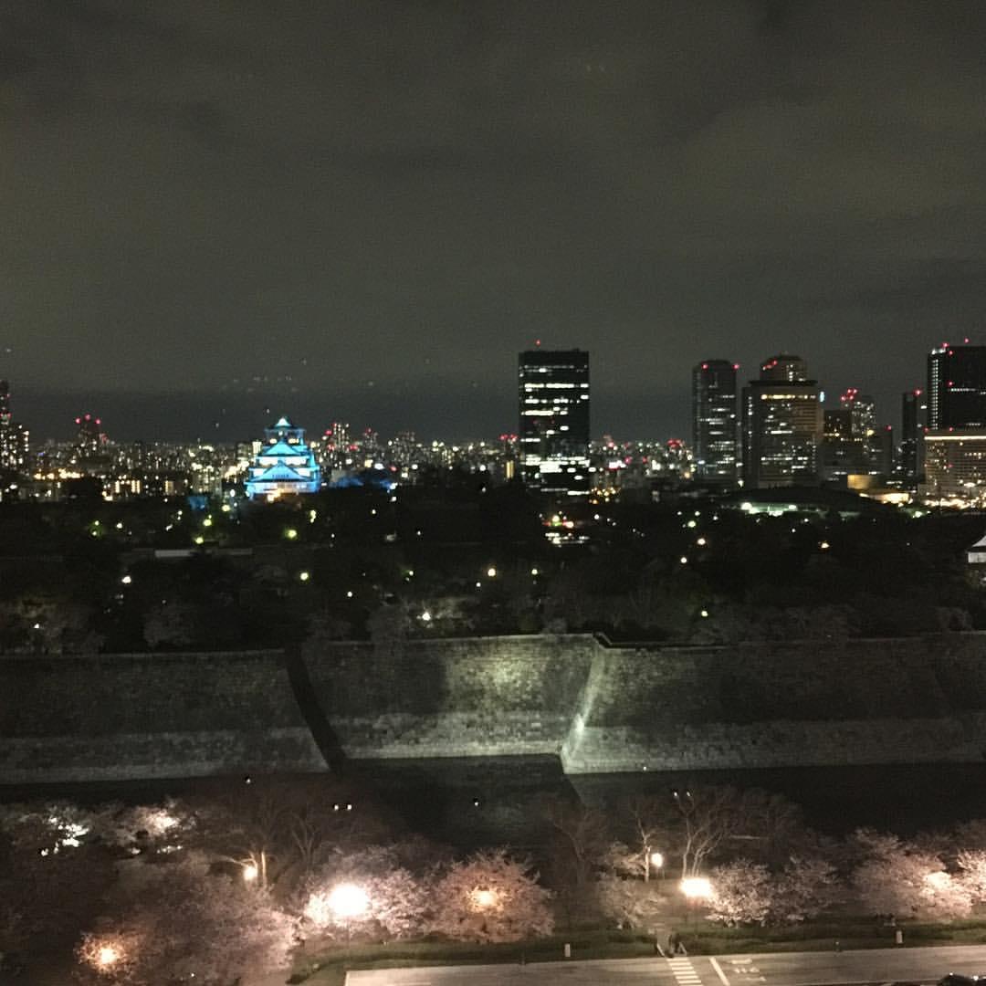 レストランシャトーから見た大阪城(夜)