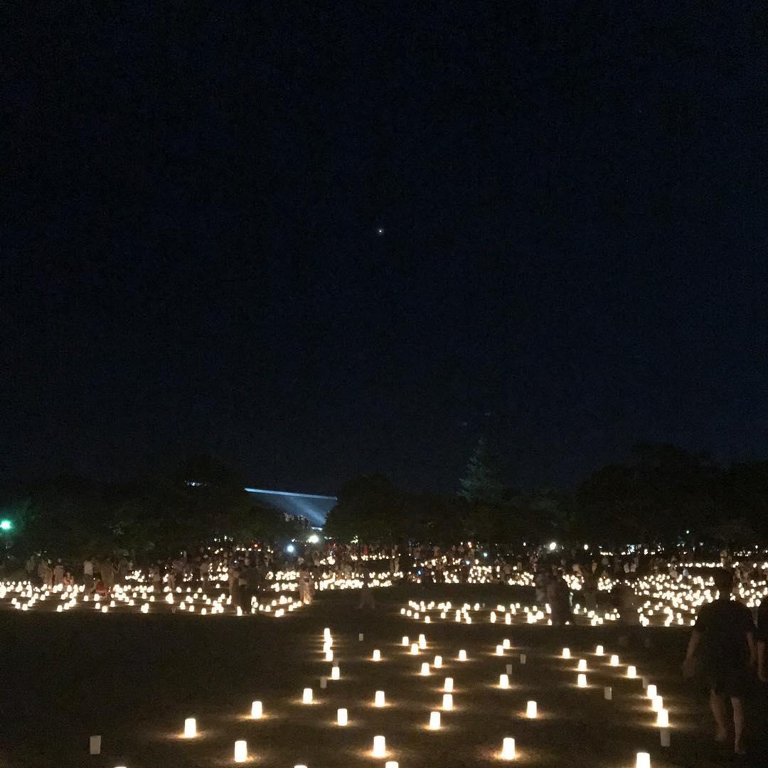 奈良公園の灯りと火星