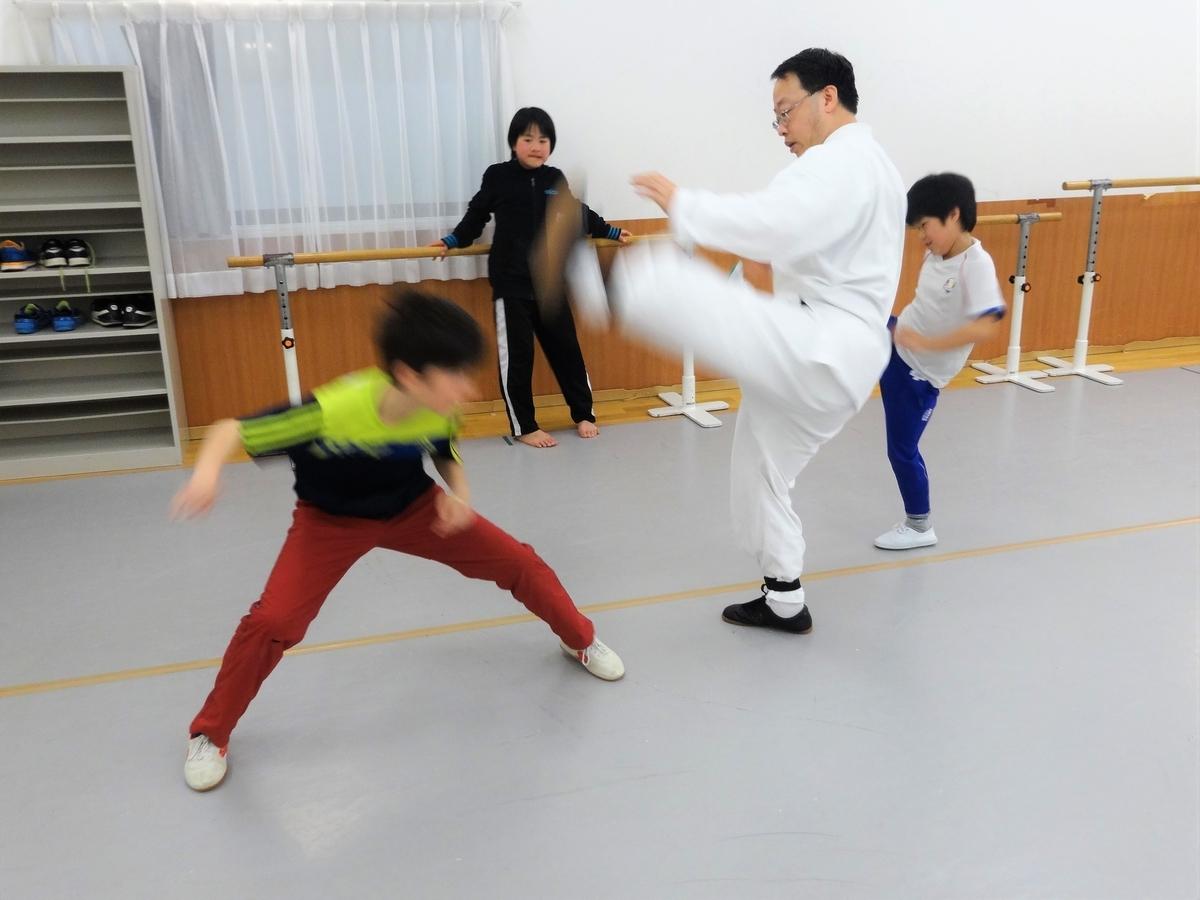 子供カンフー教室 対戦の練習