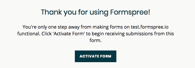formspree activation page