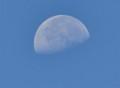 青空にぽっかり浮かぶ「文月二十一日」のお月さま。(25.8.27)(7:36)