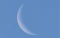 青空に、朝の細く白い月。(25.12.28)(7:43)