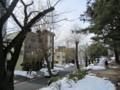 長野市の公園、残雪と立木。(26.2.27)