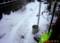玄関先に積もった、湿っぽい重い雪。(28.1.30)