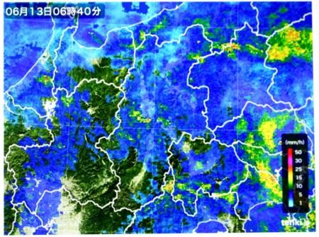 雨雲レーダー画像。(28.6.13)