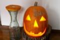 「ハロウィン・かぼちゃランタン」にローソク火を灯す。(28.10.3)