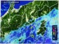 雨雲レーダー画像、南岸を進む低気圧。(28.11.1)