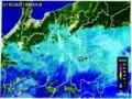 降雪が始まった頃の「雨雲レーダー画像」、(29.1.8)