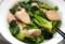 男の料理・小松菜のお浸しと魚肉ソーセージ。(29.3.1)