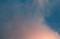 夕焼けに染まった雲間に「三月六日」のお月さま。(29.4.2)(18:05)