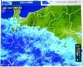 雨が降り始めた「雨雲レーダー」画像。(29.9.16)