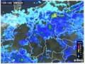 雨雲レーダー画像、佐久地方が緑色に…。(29.10.16)(8:50)