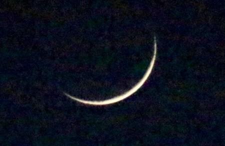 月齢1.9、細い三日月さま。(29.12.20)(17:14)