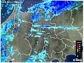 レーダー画像、佐久地方に帯状の雪雲が…。(29.12.26)