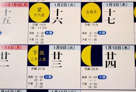 『月と季節の暦』(志賀勝)、霜月二十三夜・下弦の月。(30.1.10)