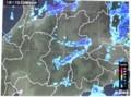 佐久地方に帯状にかかった、雨雲レーダー画像。(30,1,17)(23:05)
