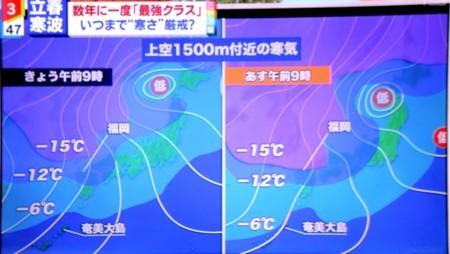 テレビ、大雪に関する気象情報。(30.2.5)