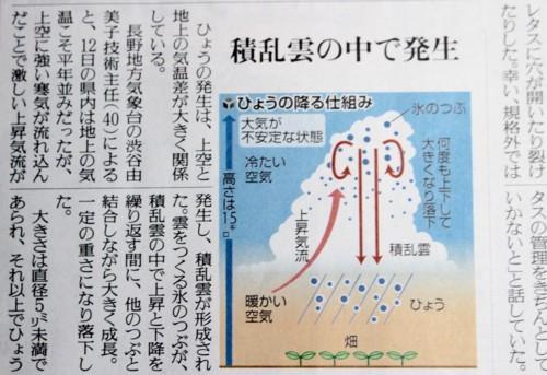 「降雹」、被害などの新聞記事。(30.6.14)