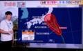 テレビは、「台風13号」の進路を警告…。(30.8.7)