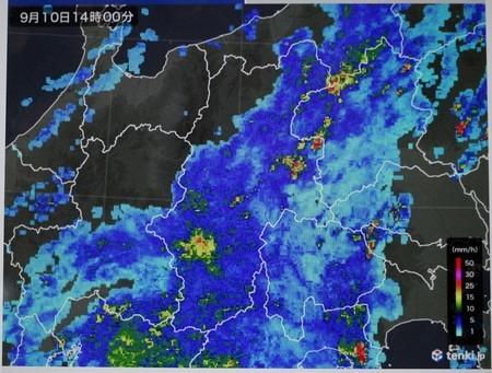 佐久市に大雨・雨雲レーダー画像。(30.9.10)(14:00)
