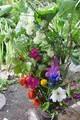 「中秋の名月」にお供えした花や野菜など。(30.9.25)