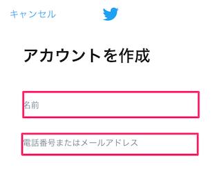 Twitterの登録画面