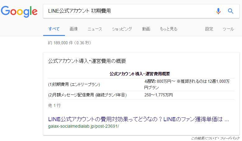 グーグル検索結果画面で提供されている強調スニペット