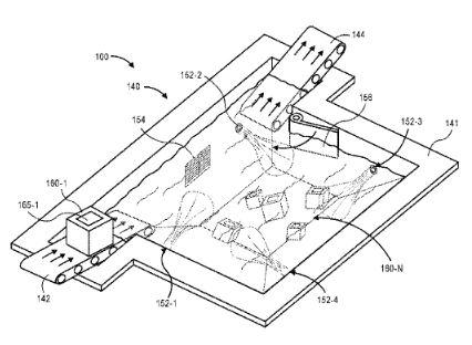 特許が公開されたアマゾンの水中倉庫の仕組み。商品を入れた箱が沈んで水中に保管されている。