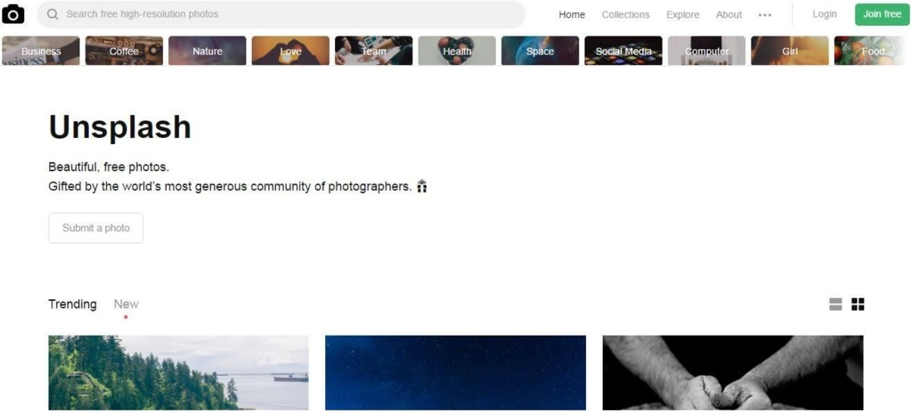Unsplash.comのトップページから画像を探す方法