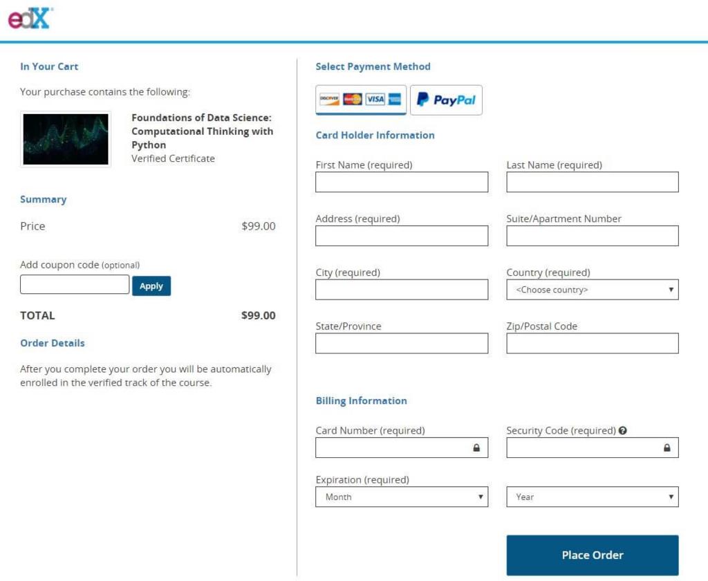 edXにて有料版に切り替える際の支払い情報入力画面(カードかPayPalを選択)
