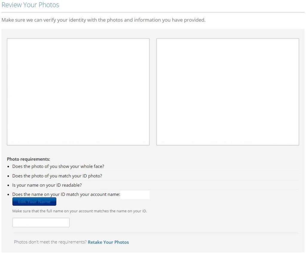 edXにて有料版に切り替える際の本人確認画面(顔写真と身分証明書の確認)