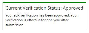 edXにて有料版への切り替えが認証されたことを示すメッセージ