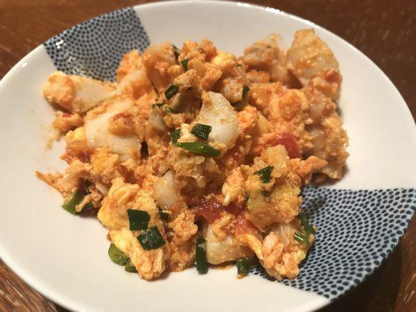 【火曜日】白身魚のトマトオムレツ(トマトソース)