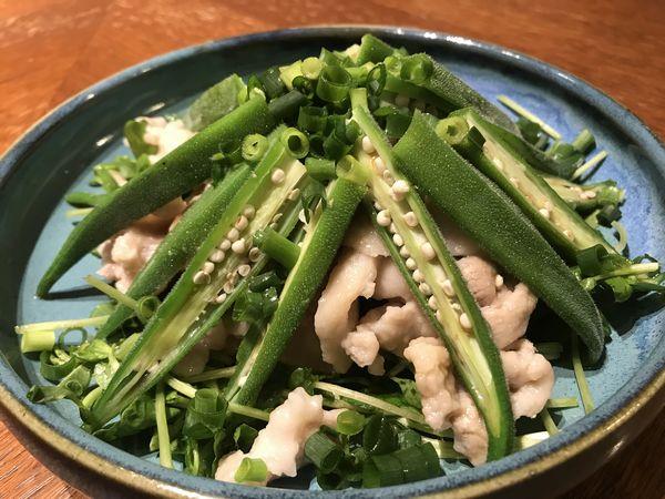 豚しゃぶとオクラのポン酢サラダ