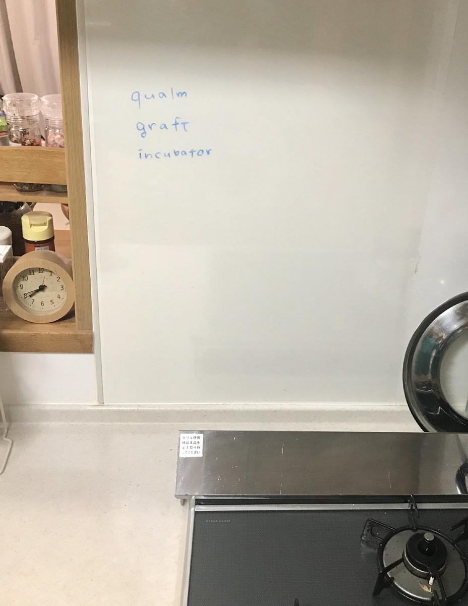 キッチンの壁に子供がお風呂でお絵かきできるクレヨンを使って単語を書く