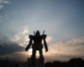 [photo]GUNDOM stands on Odaiba.